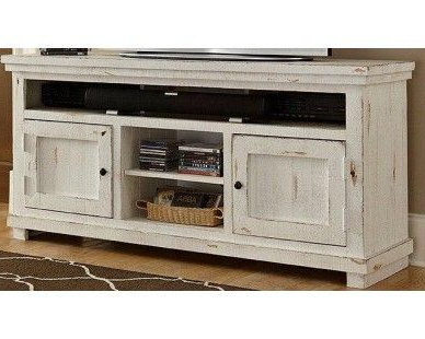 "64"" Tv Stand – Distressed White – Sam Levitz Furniture (View 1 of 20)"