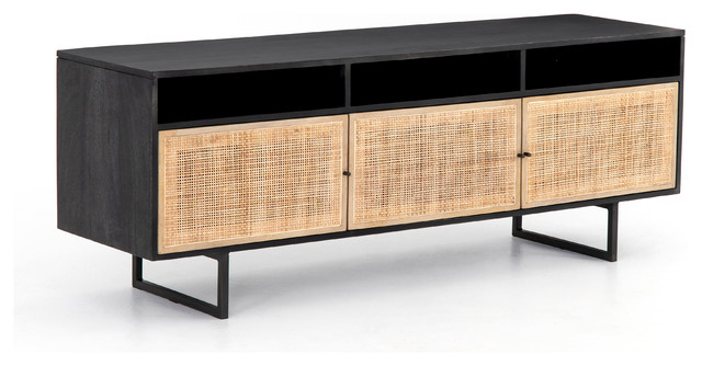 "65.00"" L Gherardo Media Console Black Wash Cane Mango Wood Iron Regarding Well Known Natural Cane Media Console Tables (Gallery 2 of 20)"
