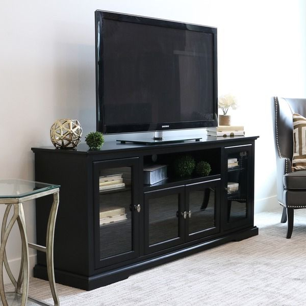 70 Inch Black Wood Highboy Tv Stand (Gallery 1 of 20)