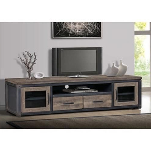 80 Inch Wood Rustic Tv Stand Storage Entertainment Center Console In Fashionable Widescreen Tv Stands (Gallery 3 of 20)