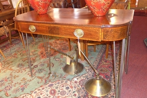 A Mahogany And Boxwood Inlaid Console Table, Having One Long Regarding Widely Used Orange Inlay Console Tables (View 17 of 20)
