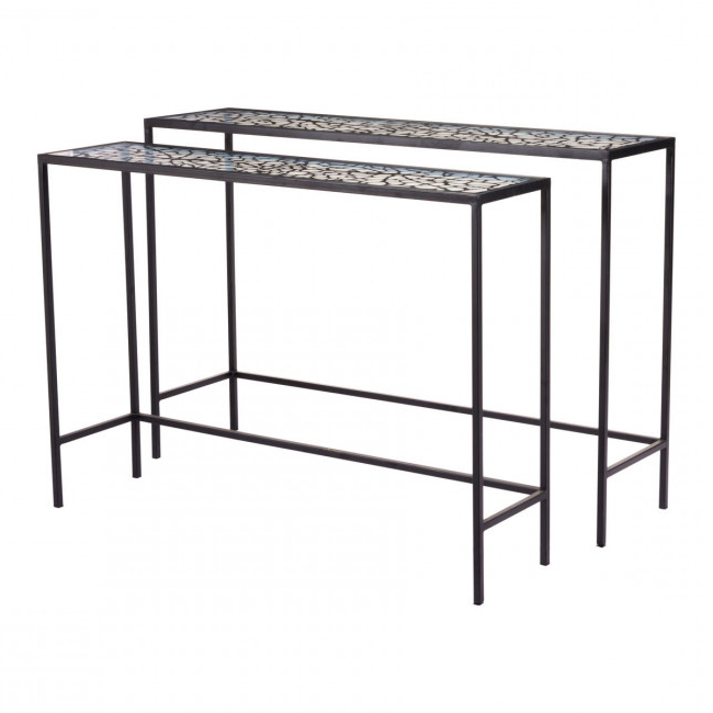 A10739 – Web Set Of 2 Console Tables Black Regarding Favorite Scattered Geo Console Tables (View 3 of 20)