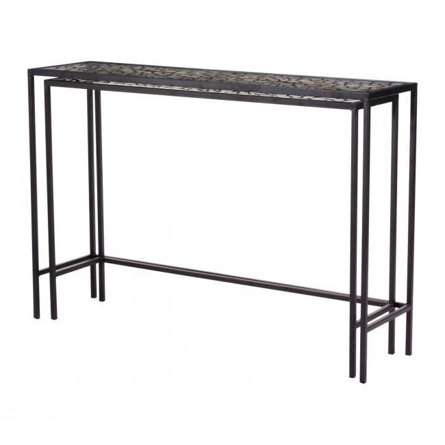 A10739 – Web Set Of 2 Console Tables Black Throughout Recent Scattered Geo Console Tables (View 5 of 20)