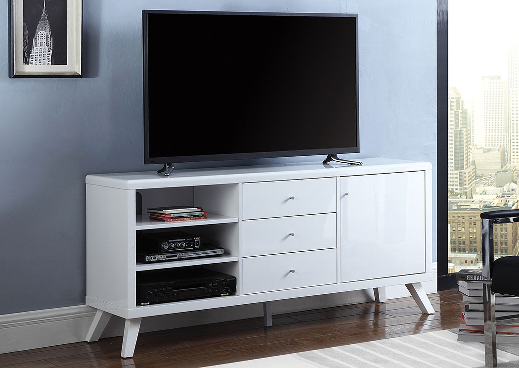 Above & Beyond Furniture High Glossy White Tv Stand For Widely Used Glossy White Tv Stands (View 4 of 20)