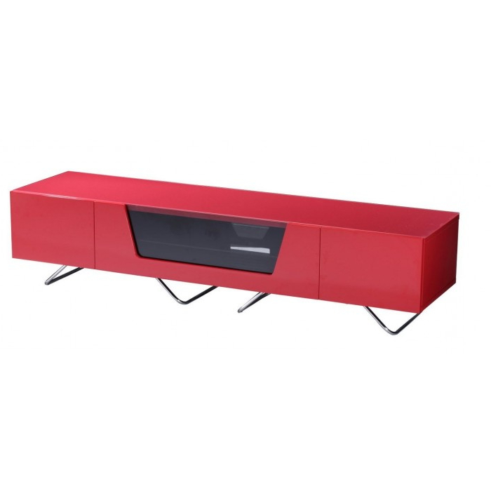Alphason Chromium 2 Tv Stand Cro2 1600Cb Red Red Gloss Tv Cabinet In Most Recently Released Red Gloss Tv Stands (View 4 of 20)