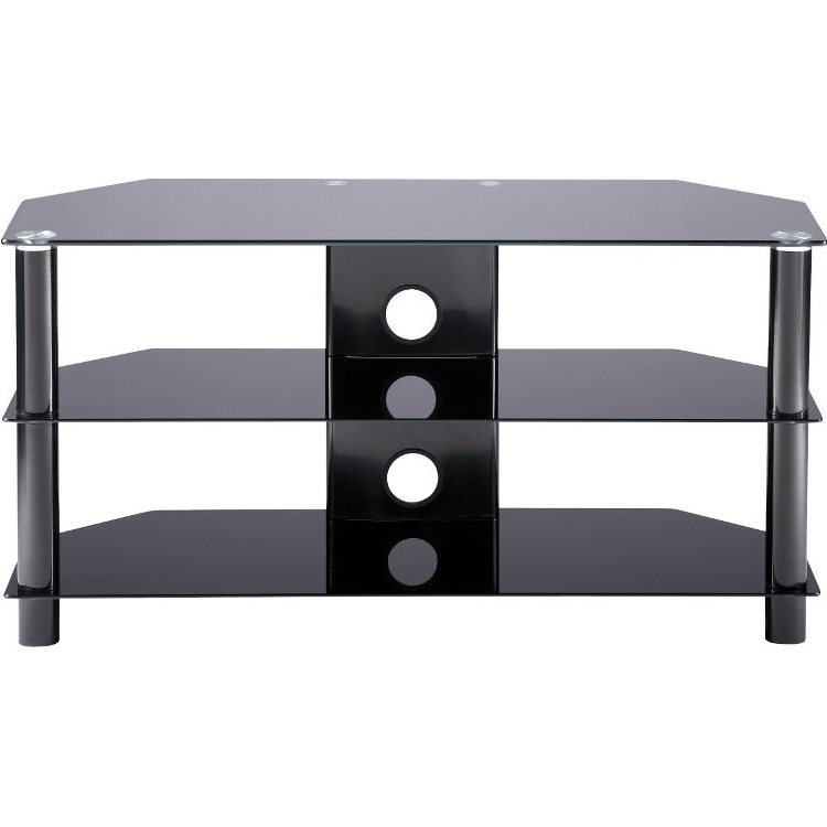 Alphason Ess1000/3 Blk Black Glass Tv Stand – Stands – Sound + Vision Inside Most Popular Glass Tv Stands (View 2 of 20)