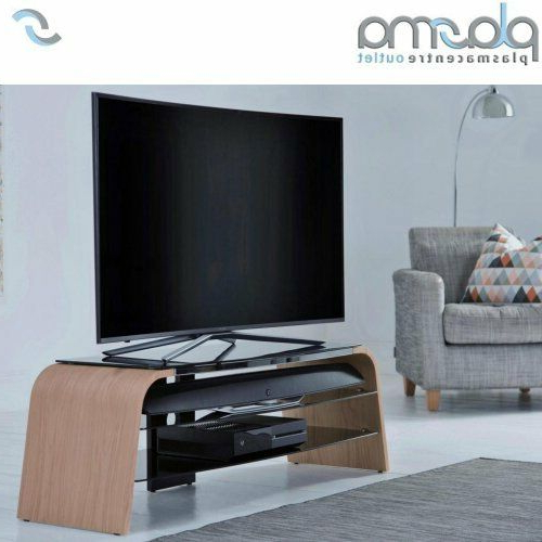 Alphason Spectrum Oak Veneer And Black Glass Tv Stand 1400Mm (View 1 of 20)