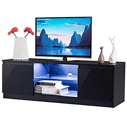"Amazon: 47"" Black High Gloss Tv Stand Unit Entertainment Media Throughout Current Kenzie 72 Inch Open Display Tv Stands (Gallery 5 of 20)"