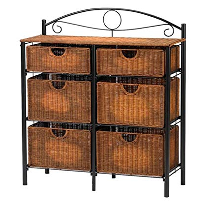 Amazon: 6 Drawer Storage Chests Organizer – Woven Wicker Baskets Inside Newest Tv Stands With Baskets (Gallery 9 of 20)