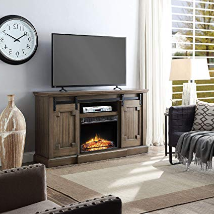Amazon: 60In Grey Clayton Tv Stand With Electric Fireplace (Grey With Regard To Latest Kilian Grey 60 Inch Tv Stands (View 1 of 20)