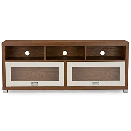 Amazon: Baxton Studio Chantile Modern White And Walnut Tv Stand Inside Famous Walnut Tv Cabinets With Doors (View 2 of 20)
