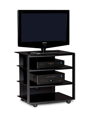 Amazon: Bdi Vexa 9221 Single Wide 4 Shelf Tv Stand (Black With Throughout Trendy Single Shelf Tv Stands (View 1 of 20)