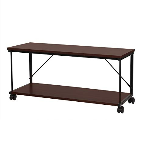 Amazon: Coffee Table, Mobile Tv Stand Cabinet With Wheels With Regard To Best And Newest Wooden Tv Stand With Wheels (View 3 of 20)