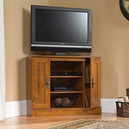 Amazon: Corner Flat Screen Tv Stand Wood Entertainment Center Within Favorite Corner Tv Cabinets For Flat Screens With Doors (Gallery 18 of 20)