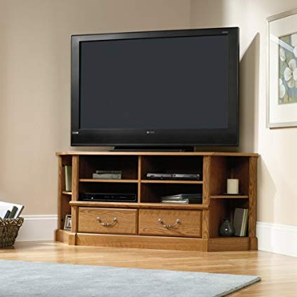 Amazon: Corner Tv Stand Entertainment Center – Oak Finish With Regard To Widely Used Corner Oak Tv Stands (View 2 of 20)