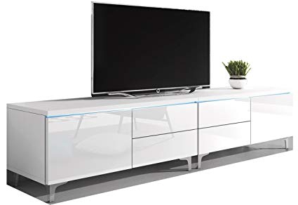 Amazon: Domovero Stellar Modern Tv Stand/unique Tv Entertainment Intended For Preferred White Modern Tv Stands (Gallery 12 of 20)