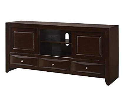 Amazon: Emily Dark Cherry Wood Tv Standcrown Mark: Kitchen Throughout Well Liked Cherry Wood Tv Stands (Gallery 8 of 20)
