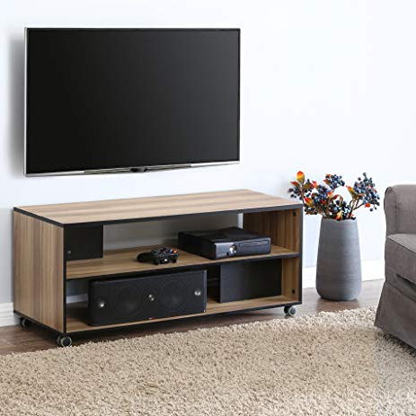 Amazon : Fitueyes Wood Tv Stand Storage Console With Wheels For In Recent Tv Stands For 43 Inch Tv (Gallery 3 of 20)