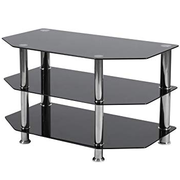 Amazon: Flash Furniture North Beach Black Glass Tv Stand With With Regard To Best And Newest Glass Tv Stands (View 3 of 20)