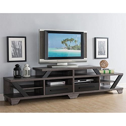 "Amazon: Furniture Of America Dixon 82"" Tv Stand In Gray And For Current Dixon White 84 Inch Tv Stands (Gallery 2 of 20)"