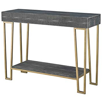 Amazon: Gena Hollywood Regency Charcoal Faux Shagreen Gold Throughout Most Current Faux Shagreen Console Tables (Gallery 1 of 20)