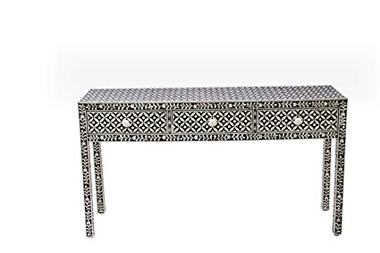 Amazon: Handmade Beautifully Crafted Unique Design Black Bone In Preferred Black And White Inlay Console Tables (View 2 of 20)