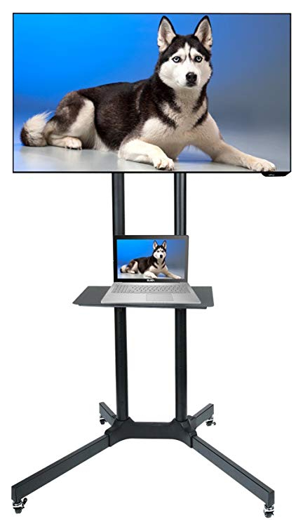 Amazon : Husky Mount Mobile Tv Stand With Wheels Heavy Duty With Recent Kenzie 60 Inch Open Display Tv Stands (Gallery 14 of 20)
