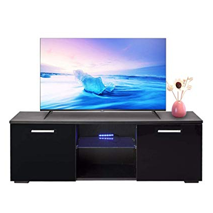 Amazon: Joolihome Wood Tv Stand High Gloss Black Tv Shelves Pertaining To 2018 Jaxon 71 Inch Tv Stands (View 16 of 17)