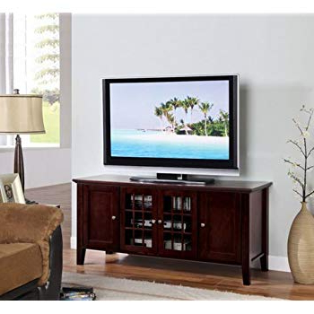 Amazon: Kb Dark Cherry Finish Wooden Media Console 55 Inch Flat With Trendy Wooden Tv Stands For 55 Inch Flat Screen (Gallery 6 of 20)
