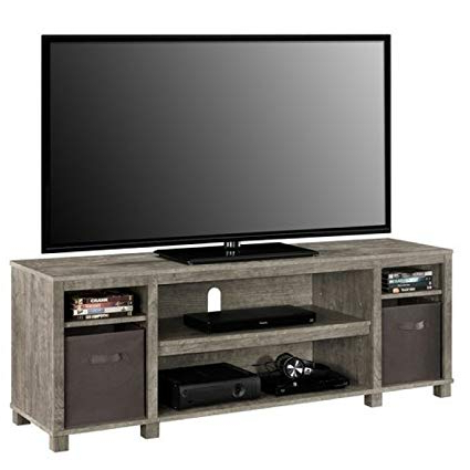 "Amazon: Mainstay Sleek Classic Design 65"" Open Shelves Grey Tv With Regard To Trendy Grey Tv Stands (View 2 of 20)"
