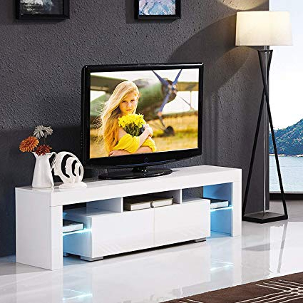 Amazon: Mecor White Tv Stand With Led Lights, 63 Inch Tv Console Within Newest Tv Stands With Led Lights (Gallery 14 of 20)