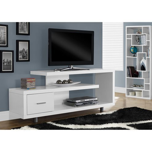 Amazon: Monarch Specialties I 2573 White With 1 Drawer Tv Stand Within Newest White Contemporary Tv Stands (View 3 of 20)