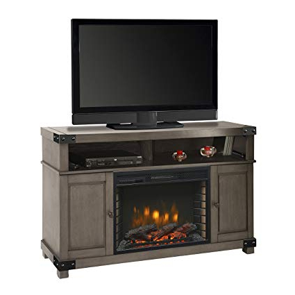 "Amazon: Muskoka Hudson 53"" Media Fireplace Dark Weathered Grey With Regard To Most Popular Kilian Grey 60 Inch Tv Stands (Gallery 2 of 20)"