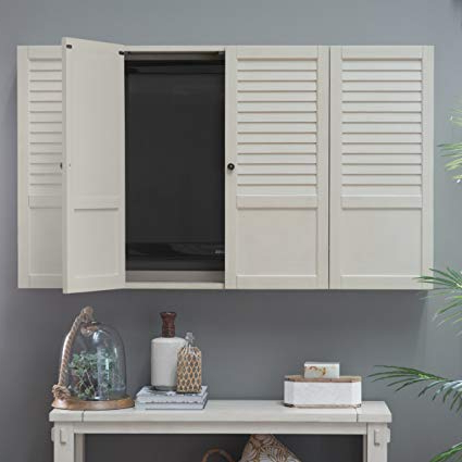 Amazon: Nantucket Shutter Front Tv Wall Cabinet – White: Office With Regard To Trendy Tv Wall Cabinets (View 1 of 20)