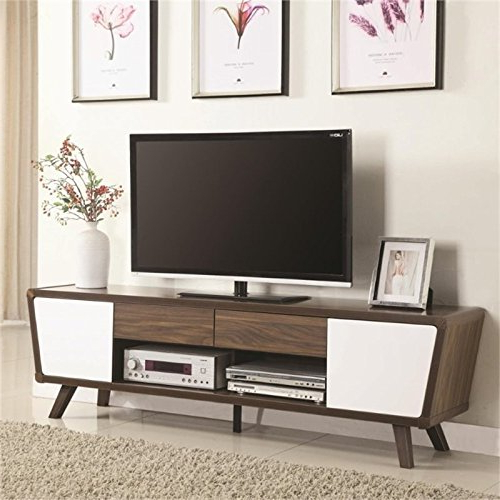 "Amazon: Pemberly Row 74"" Tv Stand In Chestnut And Glossy White With Most Current Rowan 64 Inch Tv Stands (Gallery 19 of 20)"