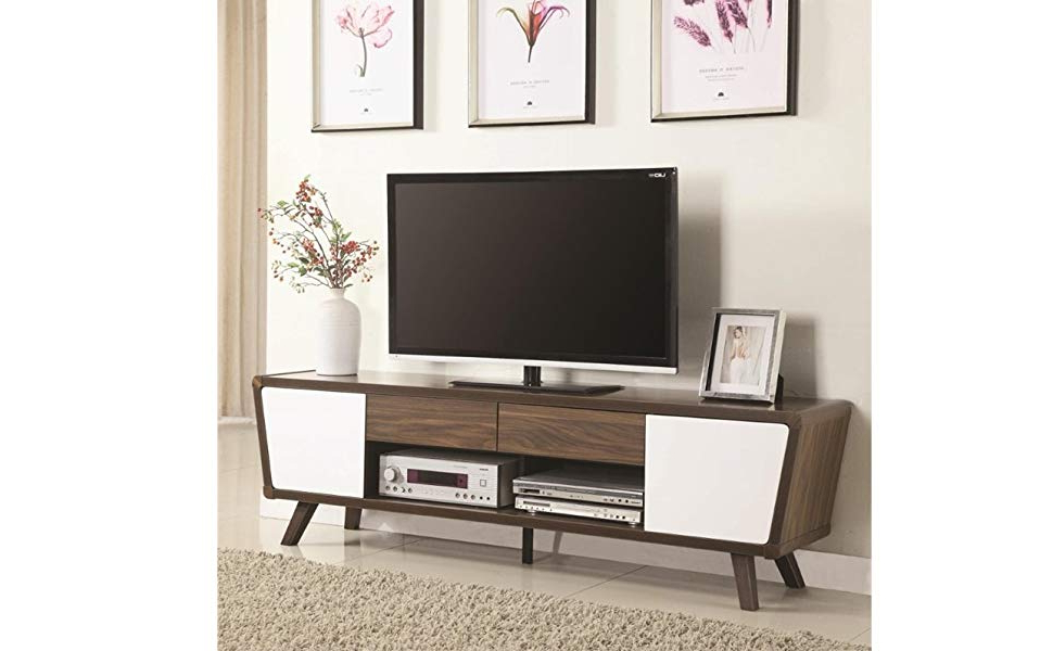 "Amazon: Pemberly Row 74"" Tv Stand In Chestnut And Glossy White Within Most Recent Rowan 64 Inch Tv Stands (View 3 of 20)"