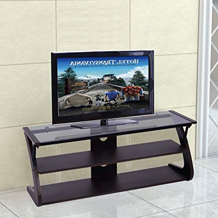 Amazon: Tangkula Universal Tv Stand 3 Tire Tv Stand Storage Regarding Trendy Entertainment Center Tv Stands (View 6 of 20)