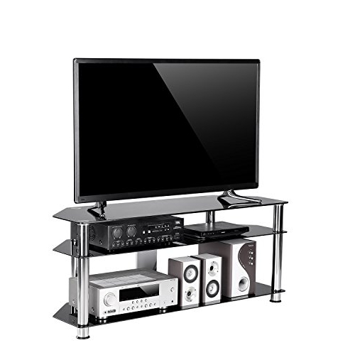 Amazon: Tavr Black Tempered Glass Corner Tv Stand Cable Intended For Well Liked Corner Tv Stands For 60 Inch Tv (View 4 of 20)