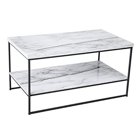 Amazon: Tilly Lin 2 Tier Faux Marble Coffee Table, Water Throughout Well Known Mix Agate Metal Frame Console Tables (Gallery 12 of 20)