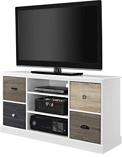 Amazon: Tv Stand For Flat Screens Premium Rustic White Wood With 2018 Rustic White Tv Stands (Gallery 5 of 20)