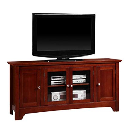Amazon: Walker Edison Solid Wood Tv Stand: Home & Kitchen Pertaining To Newest Wooden Tv Stands With Doors (Gallery 2 of 20)
