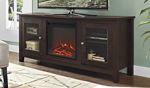 "Amazon: We Furniture 58"" Wood Media Tv Stand Console With Inside Famous Casey Grey 66 Inch Tv Stands (Gallery 5 of 20)"