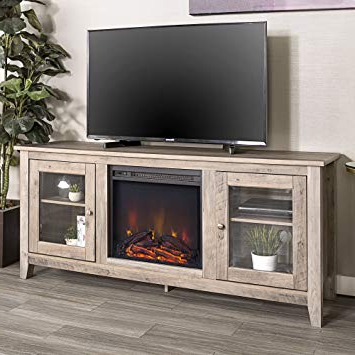 "Amazon: We Furniture 58"" Wood Media Tv Stand Console With With Regard To Latest Kilian Grey 60 Inch Tv Stands (View 4 of 20)"