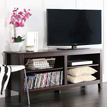 "Amazon: We Furniture 58"" Wood Tv Stand Storage Console, Espresso Inside Latest Century Sky 60 Inch Tv Stands (Gallery 6 of 20)"