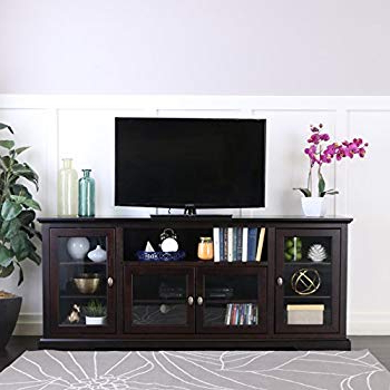 "Amazon: We Furniture 70"" Espresso Wood Tv Stand Console: Kitchen For Well Known Maddy 60 Inch Tv Stands (View 11 of 20)"