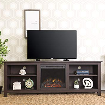 "Amazon: We Furniture 70"" Wood Fireplace Tv Stand Console For Most Popular Caden 63 Inch Tv Stands (View 2 of 20)"