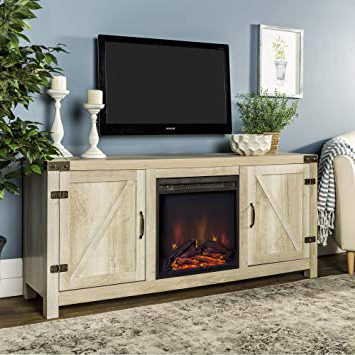 Amazon: We Furniture Az58Fpbdwo Fireplace Stand, White Oak Pertaining To Widely Used Kilian Grey 49 Inch Tv Stands (Gallery 5 of 20)