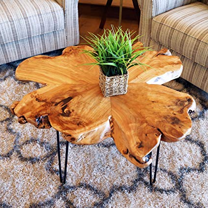 Amazon: Welland Live Edge Coffee Table, Wood Slab Coffee Table In Most Popular Moraga Live Edge Plasma Console Tables (View 5 of 20)