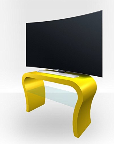 Amazon: Zespoke Curved Tv Stand – Yellow Gloss: Kitchen & Dining In Favorite Yellow Tv Stands (View 3 of 20)