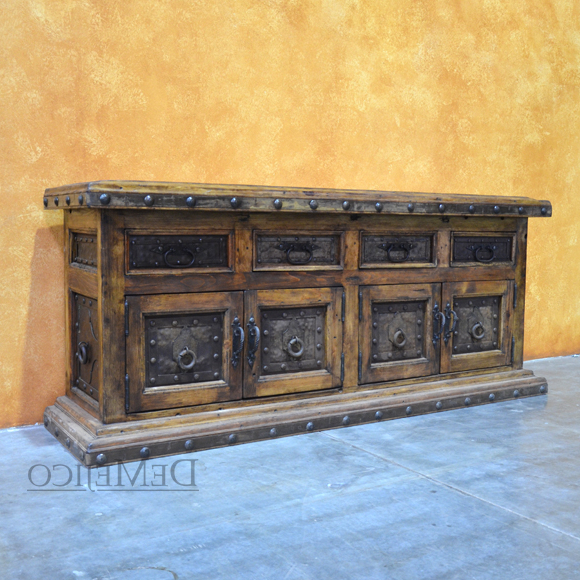 Antigua Metal Tv Stand Especial, Rustic Entertainment Center – Demejico Pertaining To Latest Reclaimed Wood And Metal Tv Stands (View 2 of 20)